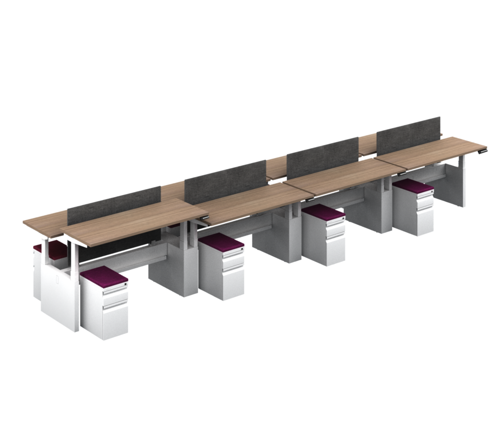 8 User Adjustable Height Desk Benching Configuration