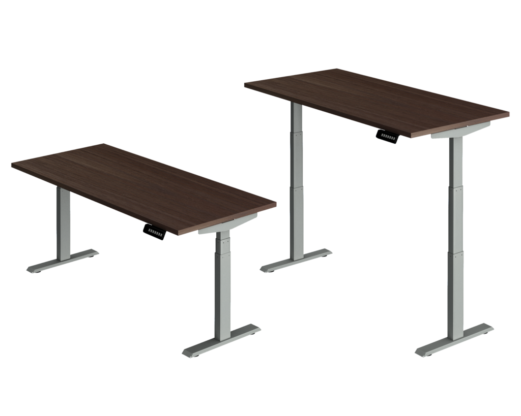 3 Stage Motorized Adjustable Height Desk shown Low and High