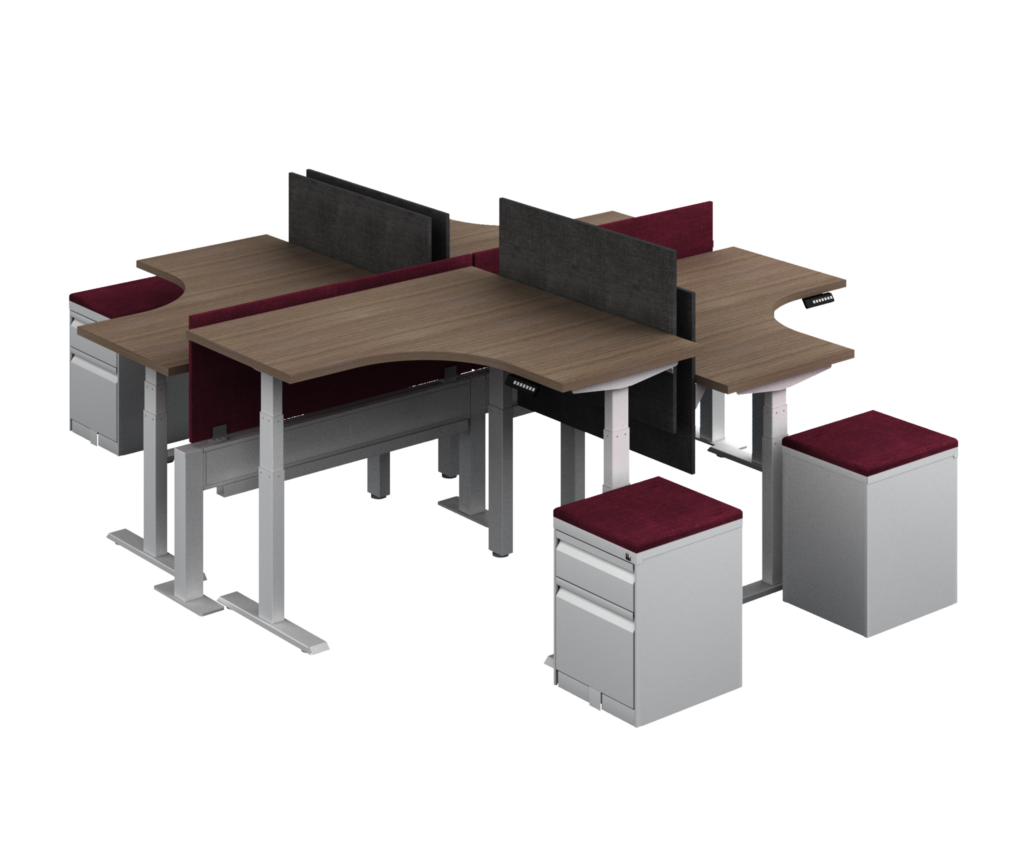 L-Shaped Adjustable Height Desks in a 4 User Configuration