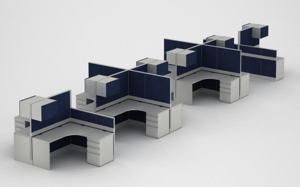 Modular, Panel-Based Cubicle/Workstations with Storage Cabinets and File Drawers - Michigan