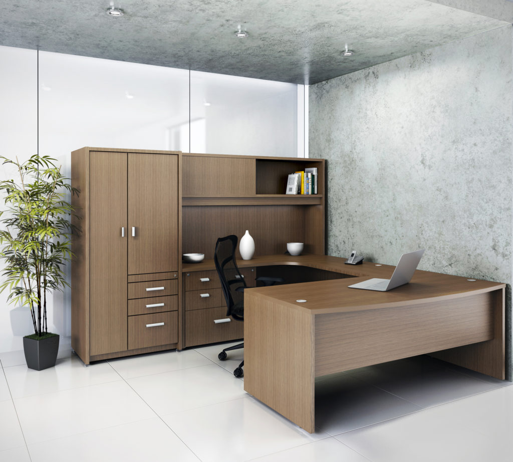 Commercial U-Desk with File Drawers and Wardrobe Storage in Laminate