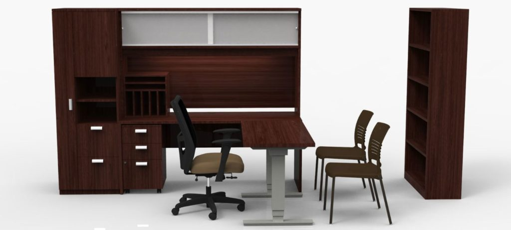 Laminate Adjustable Height Desk with Casegood Storage