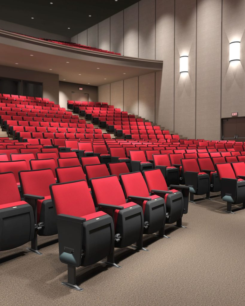 Michigan Auditorium Seating with Tablets and Cup Holders, Design, Sales, and Installation
