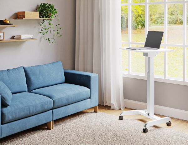 Movel Sturdy Sit-Stand Mobile Workstation Desk on Casters Wheels in a home living room