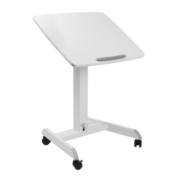 Movel Sturdy Sit-Stand Mobile Workstation Desk on Casters Wheels Tilted Front